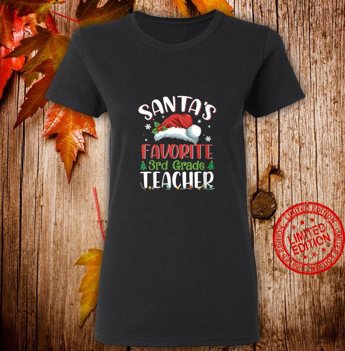 Womens Santa's Favorite 3rd Grade Teacher Christmas Santa Hat Shirt ladies tee